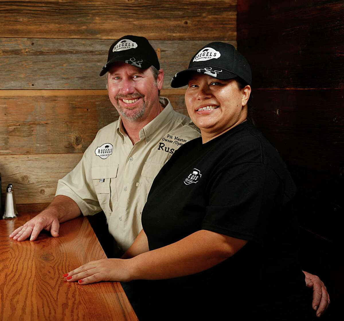 Roegels Barbecue Co. owners Russell Roegel left, and his wife Misty Roegels.