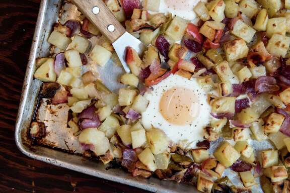Root Vegetable and Apple Hash Baked with Eggs