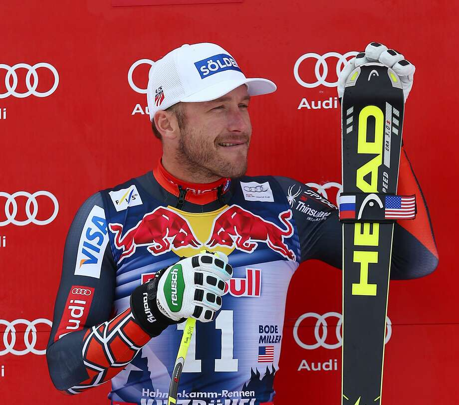 FILE - In this Jan. 25, 2014, file photo, third placed Bode Miller celebrates at the end of an alpine ski, men's World Cup downhill, in Kitzbuehel, Austria. Austrian-based ski manufacturer Head said Monday, Sept. 19, 2016, it has been sued by six-time Olympic medalist Bode Miller, who wants to resume World Cup racing with a different equipment supplier.  (AP Photo/Giovanni Auletta, File) Photo: Giovanni Auletta, Associated Press