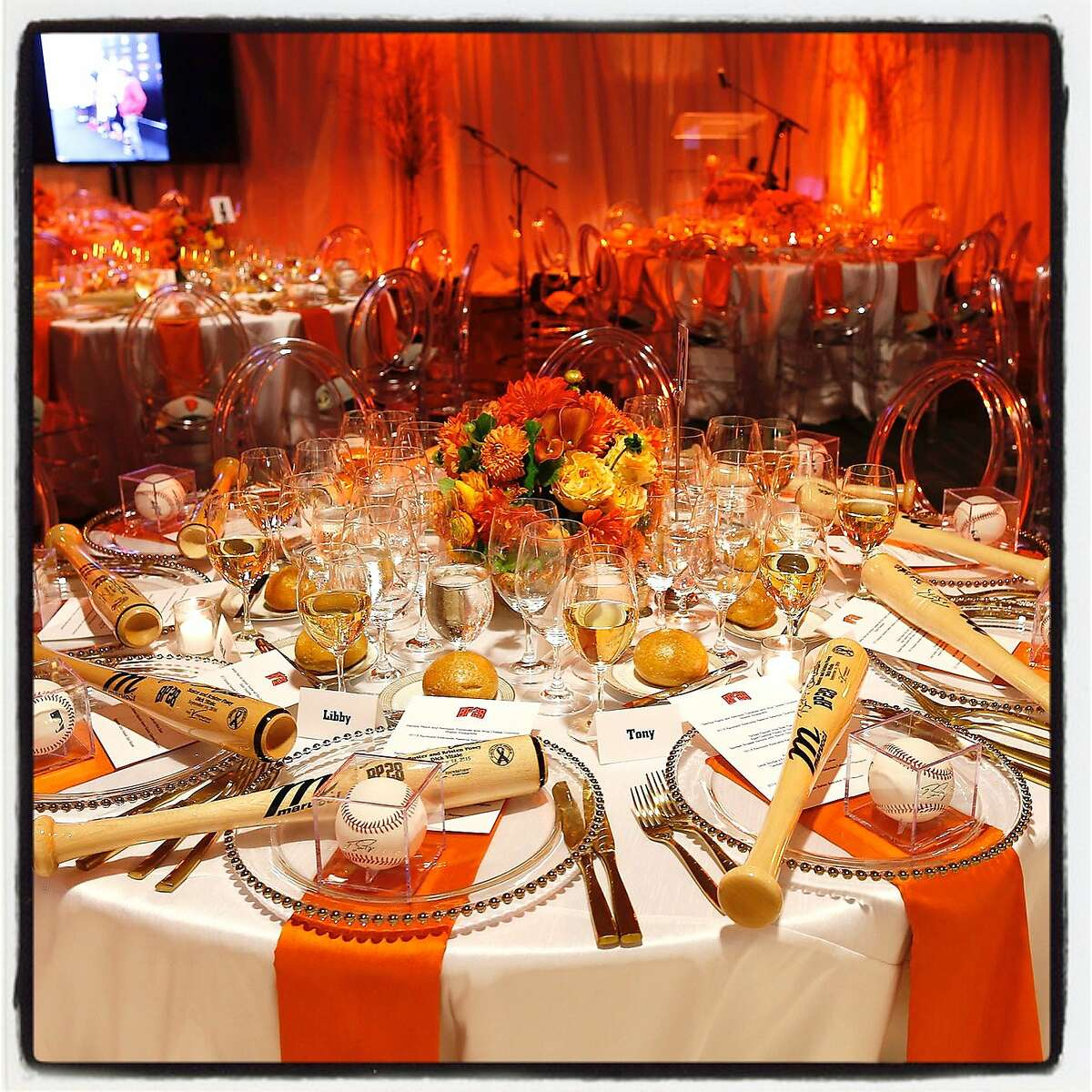The SF Giants created its inaugural gala at the ballpark to support raising pediatric cancer research funds for the The Posey Family Foundation. Sept 2016.