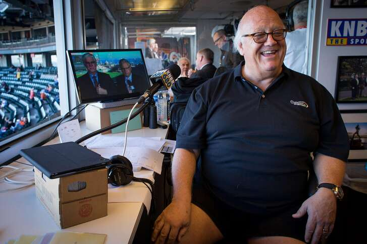 San Francisco Giants broadcaster Jon Miller talks about famed Dodgers broadcaster Vin Scully's retirement and shares some impersonations of the legendary announcer before the start of a game on Saturday, September 17, 2016 in San Francisco, Calif. Brian Feulner, Special to the Chronicle