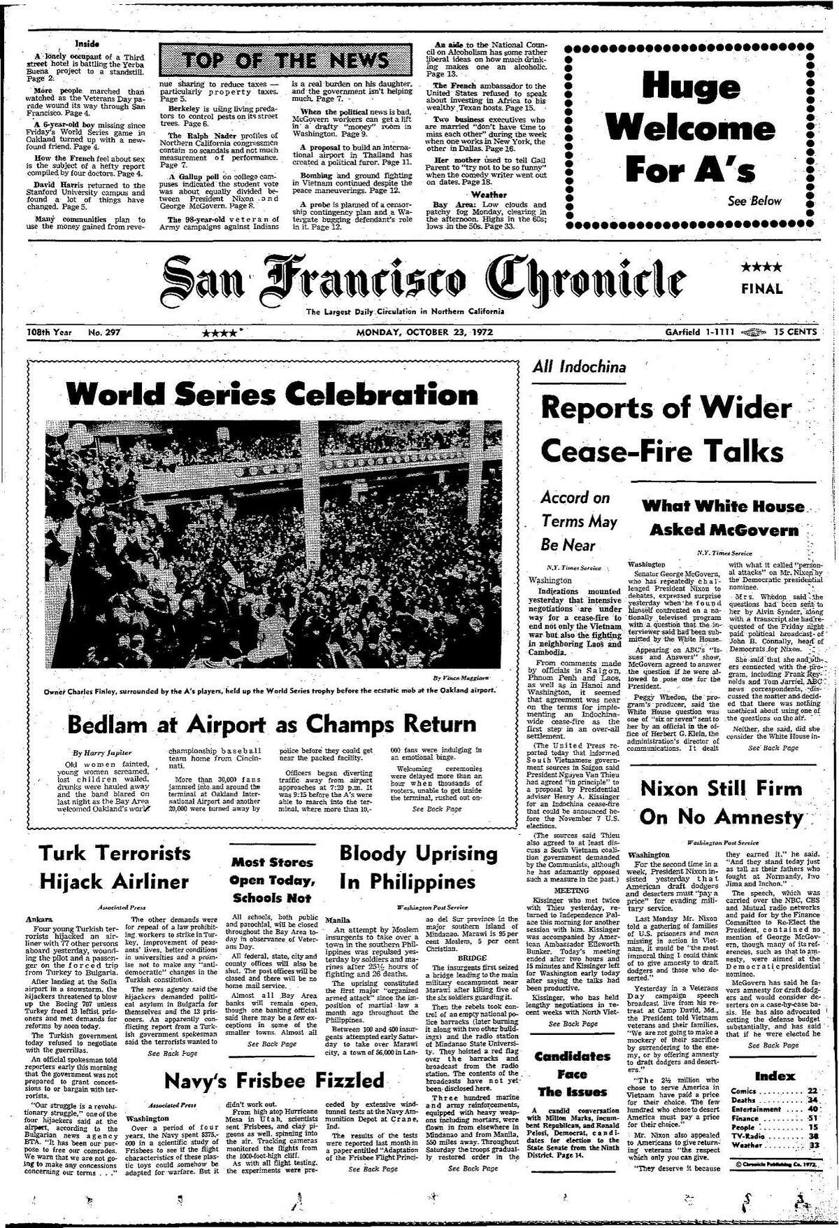 Historic Chronicle Front Page October 23, 1972 Oakland A's win the World Series Chron365, Chroncover