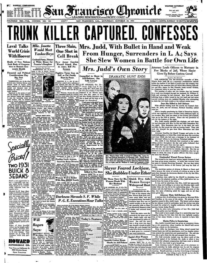 Historic Chronicle Front Page October  24, 1931  Winnie Ruth Judd, the Trunk Killer captured confesses