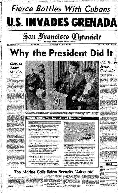 The Chronicle's front page from Oct. 26, 1983, covers the U.S. invasion of Grenada. Photo: The Chronicle 1983