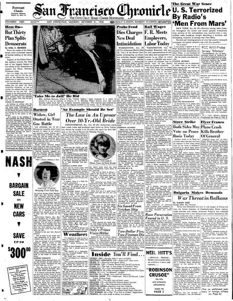"""The Chronicle's front page from Oct. 31, 1938, covers the panic caused by the radio broadcast of """"War of the Worlds."""" Photo: The Chronicle 1938"""