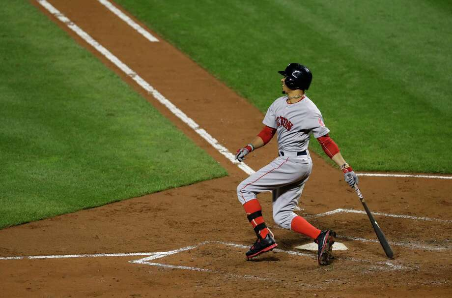 Boston Red Sox's Mookie Betts watches his two-run home run in the third inning of a baseball game against the Baltimore Orioles in Baltimore, Monday, Sept. 19, 2016. (AP Photo/Patrick Semansky) ORG XMIT: MDPS103 Photo: Patrick Semansky / Copyright 2016 The Associated Press. All rights reserved.