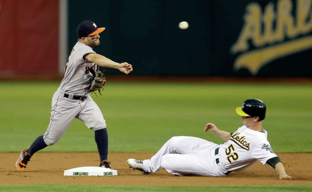 Houston Astros' Jose Altuve, left, throws over Oakland Athletics' Joey Wendle to complete a double play in the first inning of a baseball game Monday, Sept. 19, 2016, in Oakland, Calif. A's Danny Valencia was out at first base. (AP Photo/Ben Margot)