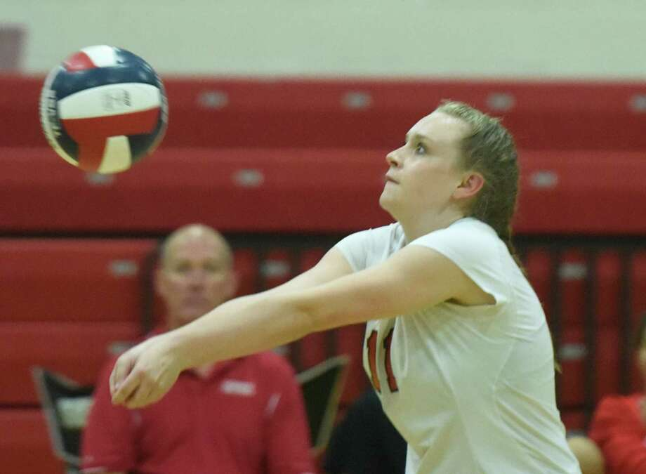 Photos from Greenwich's 3-0 (25-17, 25-8, 25-16) win over New Canaan in the high school girls volleyball match at New Canaan High School in New Canaan, Conn. Monday, Sept. 19, 2016. Photo: Tyler Sizemore / Hearst Connecticut Media / Greenwich Time