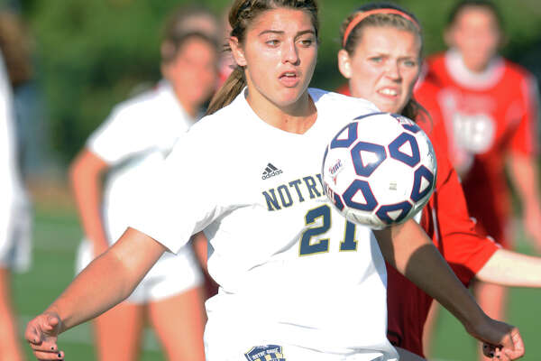 Notre Dame of Fairfield's Samantha LaValle in action during Class S girls soccer action against Portland in Bridgeport, Conn. Nov. 13, 2015.