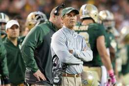Head coach Art Briles of the Baylor Bears looks on against the Iowa State Cyclones on Oct. 19, 2013 at Floyd Casey Stadium in Waco.