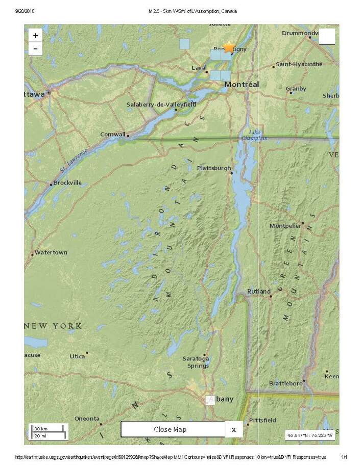 A 2.5-magnitude earthquake struck Sept. 20, 2016, north of Montreal, the U.S. Geological Survey said. (USGS map)