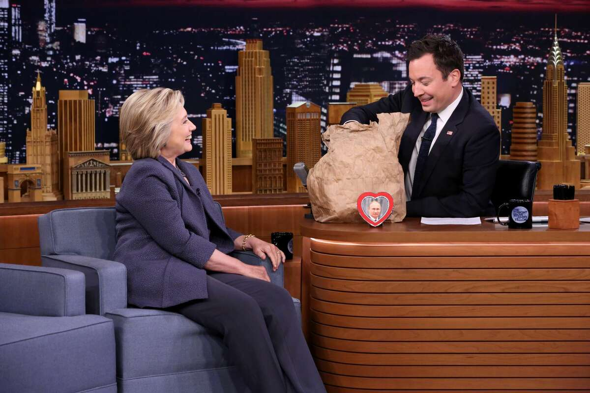 Democratic Presidential Candidate Hillary Clinton during an interview with host Jimmy Fallon on September 19, 2016