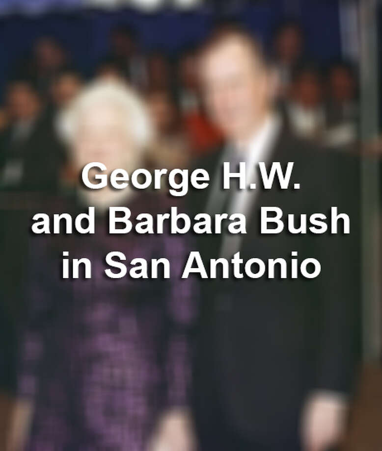 "President George H.W. Bush will be remembered for Gulf War I, ""Read my lips: No new taxes,"" the North American Free Trade Agreement and the first official presidential pardon of a Thanksgiving turkey, among other things, while First Lady Barbara Bush will be remembered for her tireless efforts to promote literacy. Here are some photos of the pair visiting the Alamo City, before, during and after George Bush's presidency. Photo: Doug Mills/Associated Press File Photo"