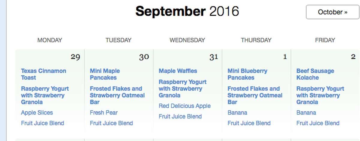 HISD breakfast menu for October 2016.