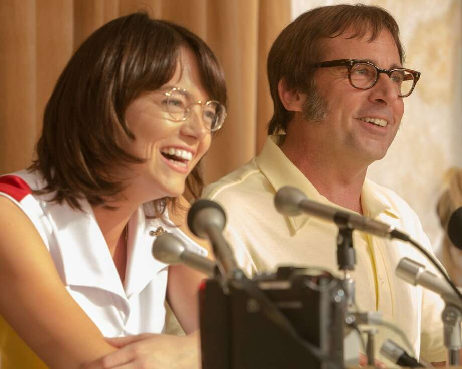 """Looking back at the """"Battle of the Sexes""""A film starring Emma Stone as Billie Jean King and Steve Carell as Bobby Riggs is set to debut in 2017. The film will take a humorous look at the pair's infamous """"Battle of the Sexes"""" tennis match held at the Houston Astrodome on Sept. 20, 1973.Click through to see pictures from the match over 40 years ago Photo: Photo By Melinda Sue Gordon / Fox Searchlight"""