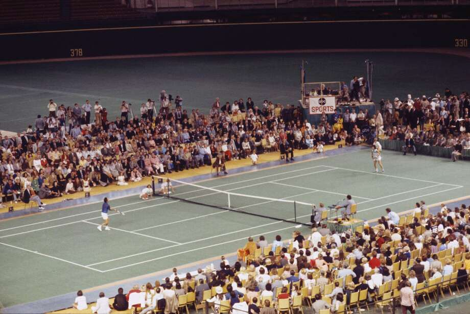 A new field at the Astrodome could accommodate all kinds of contests. In this photo: Billie Jean King and Bobby Riggs during the Battle of the Sexes Challenge Match at the Astrodome in 1973. Photo: Focus On Sport/Focus On Sport/Getty Images
