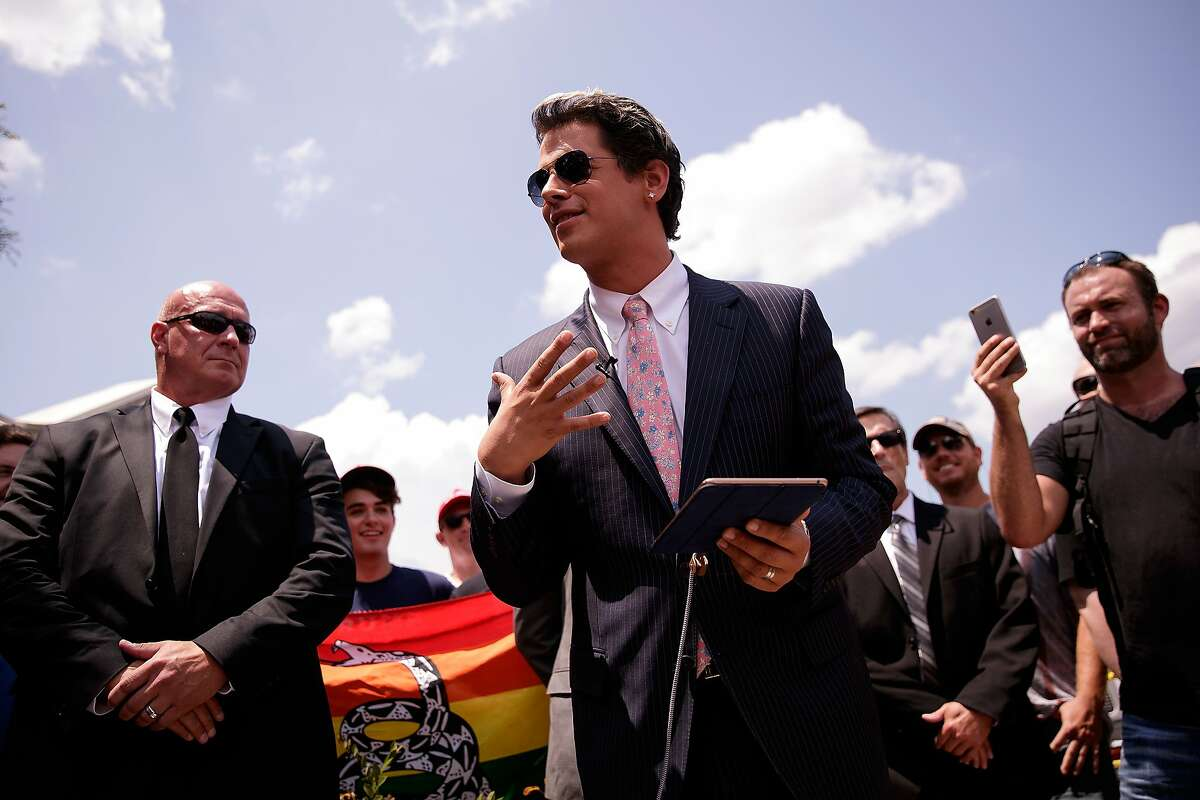 ORLANDO, FL - JUNE 15: Milo Yiannopoulos, a conservative columnist and internet personality, holds a press conference down the street from the Pulse Nightclub, in this file photo from June 15, 2016 in Orlando, Florida. Yiannopoulos is taking part in a tour of college campuses and will be at UC Davis on Friday.