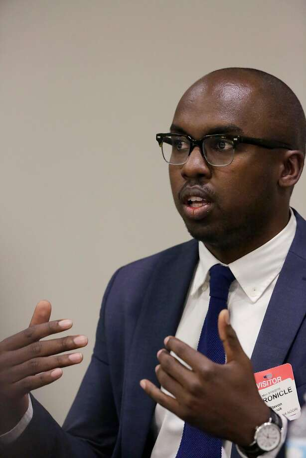 San Francisco School Board President Stevon Cook, shown here as a candidate in September 2016,�chose to start the board meeting Tuesday, his first as president, without the customary Pledge of Allegiance. Photo: Lea Suzuki / The Chronicle