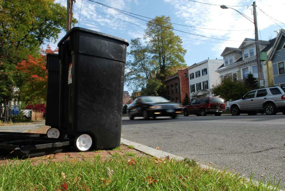 A view of some garbage cans on Union Street in Schenectady, NY. (Paul Buckowski/Times Union) Photo: Paul Buckowski