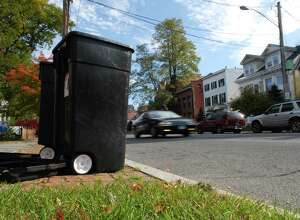 A view of some garbage cans on Union Street in Schenectady, NY. (Paul Buckowski/Times Union)