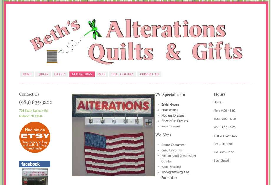 Alteration Shop:1. Beth's Alterations, Quilts & Gifts 2. Cheryl's 3. Alterations and custom sewing - Sally Bukoski