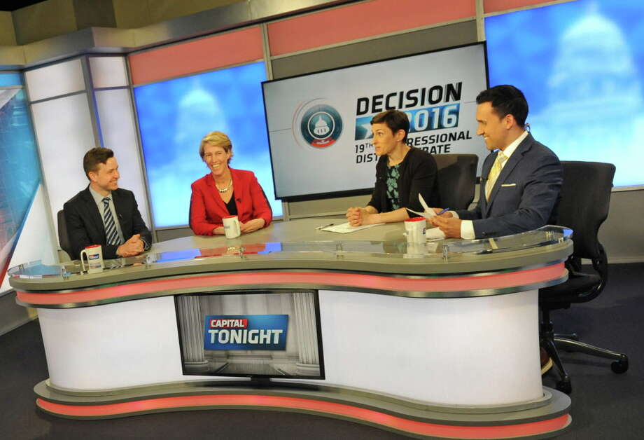 Will Yandik, left, and Zephyr Teachout, Democratic candidates for the 19th Congressional District seat, debating back in June on Capital Tonight with moderators Liz Benjamin and Solomon Syed at the TWC News studios in Albany. (Michael P. Farrell/Times Union) Photo: Michael P. Farrell / 40036990A