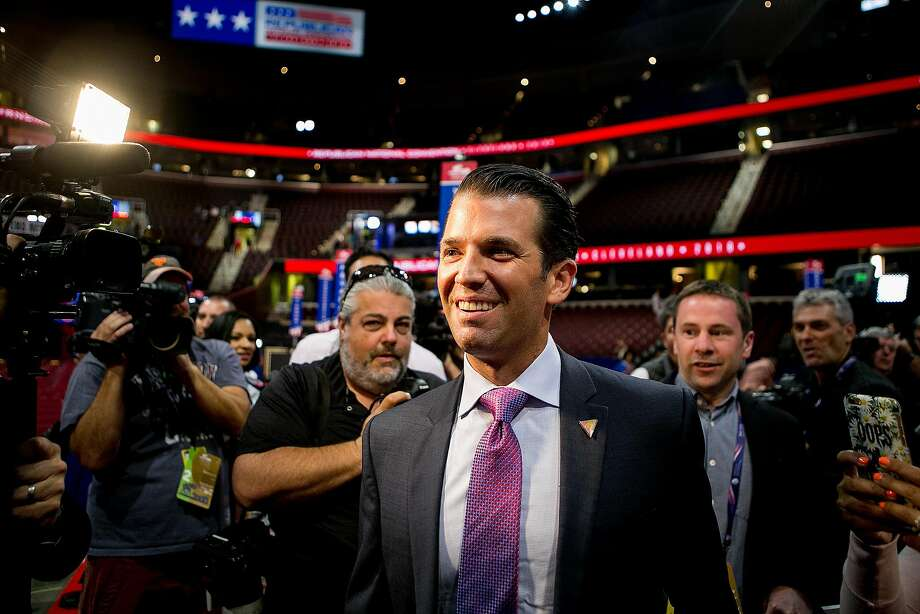 Donald Trump, Jr., son of Republican presidential nominee Donald Trump, at the Quicken Loans Arena on the second day of the Republican National Convention in Cleveland, July 19, 2016. Trump Jr. has received intense backlash on social media after he posted a message on Twitter on Sept. 19 that compared Syrian refugees to a bowl of Skittles sprinkled with a few that 'would kill you.'  Photo: SAM HODGSON, NYT