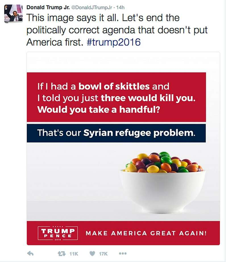 "This screenshot shows the tweet posted on Monday, Sept. 19, 2016, by Donald Trump Jr., in which he compares Syrian refugees to a bowl of poisoned Skittles. The post caused a stir and negative tweets on the internet into Tuesday, including a terse response from Skittles parent company, Wrigley Americas. ""Skittles are candy. Refugees are people. We don't feel it's an appropriate analogy,"" Vice President of Corporate Affairs Denise Young said in the statement. (Twitter via AP) Photo: Associated Press"