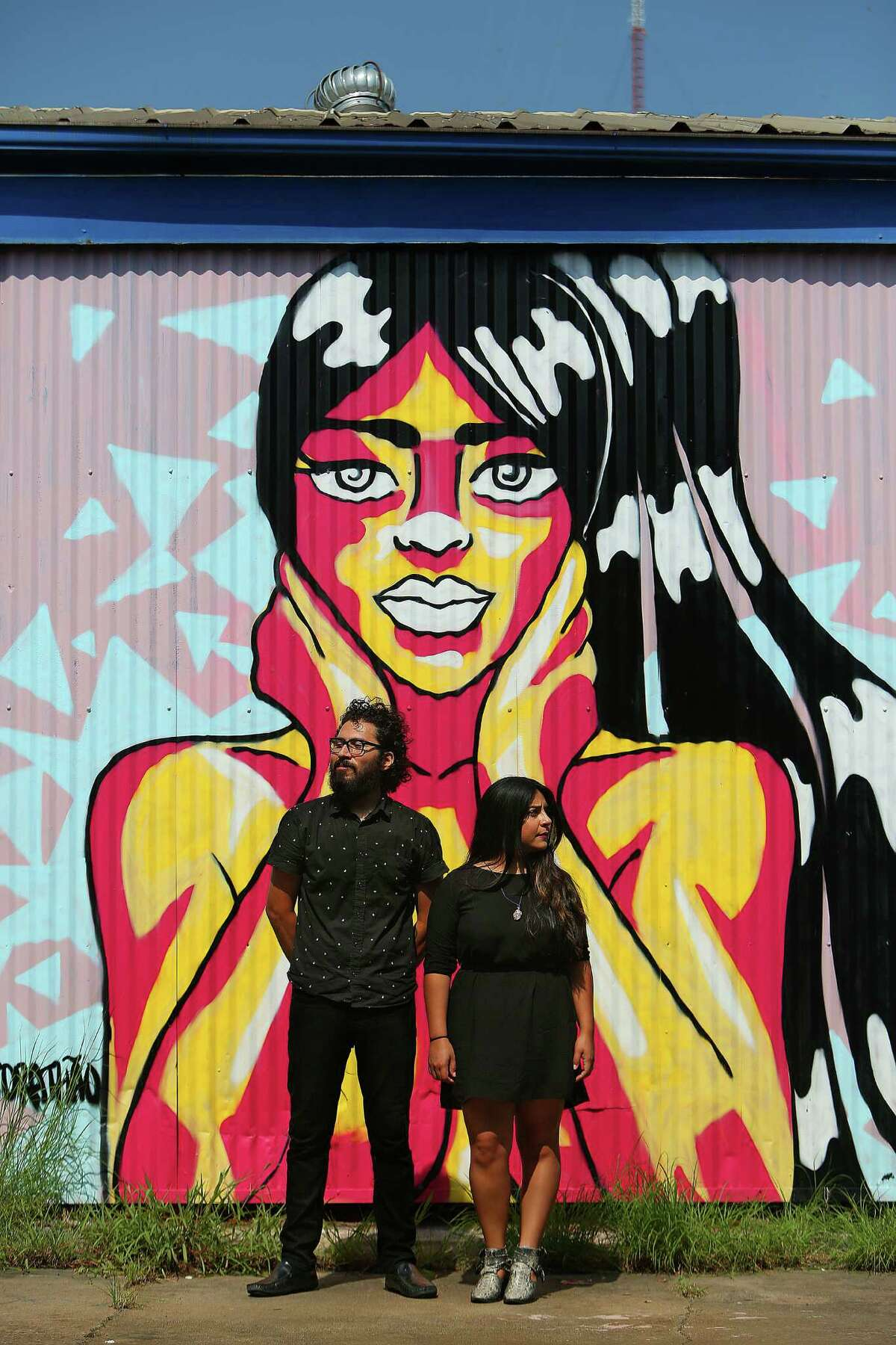 Elizabeth Salazar and Mario A. Rodriguez, co-founders of the agency Wonky Power, have built a studio and label in east Houston, Monday, Sept. 19, 2016. Their space combines office and studio space with performance and rehearsal spaces for bands. ( Mark Mulligan / Houston Chronicle )