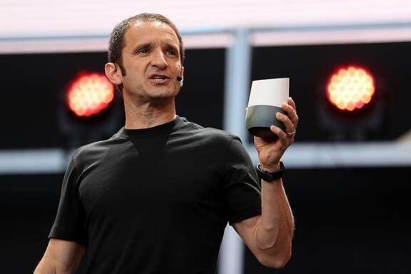 MOUNTAIN VIEW, CA - MAY 18:  Google Vice President of Product Management Mario Queiroz shows the new Google Home during Google I/O 2016 at Shoreline Amphitheatre on May 19, 2016 in Mountain View, California. The annual Google I/O conference is runs through May 20.  (Photo by Justin Sullivan/Getty Images)