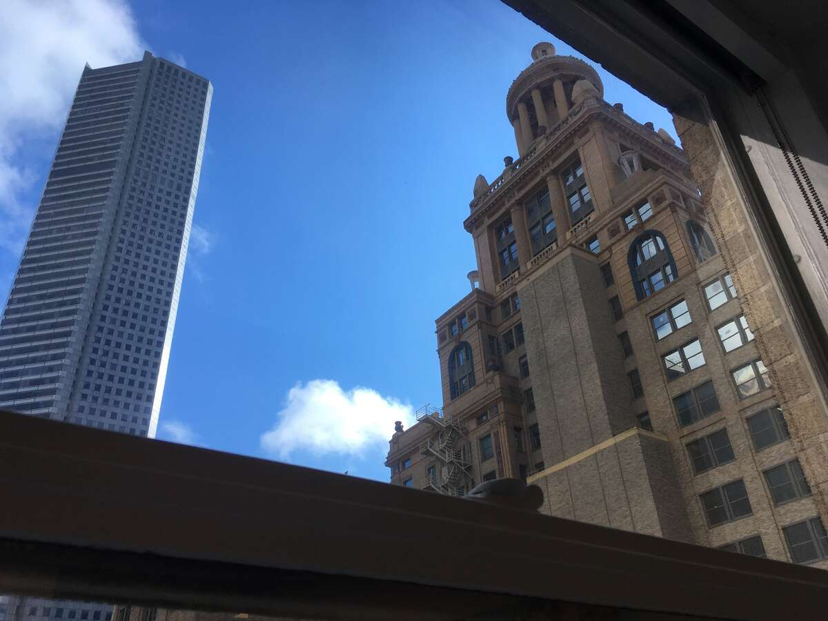 Top top of the Niels Esperson building, opened in 1927, can be seen from Amegy's offices in the Mellie Esperson building. JPMorgan Chase Tower is on the left.