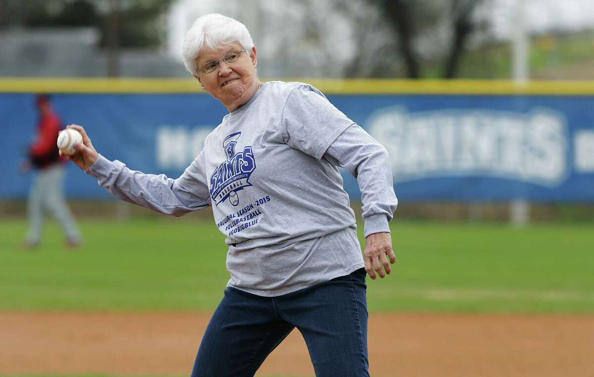 The Our Lady of the Lake University Saints baseball team holds their first ever game at Missions Baseball Academy. Sister Jane Anne Slater, President of OLLU, thows out a pitch before the game. The Saints lost the inaugural game to University of Houston-Victoria 5-3. Friday, Feb. 6, 2015.