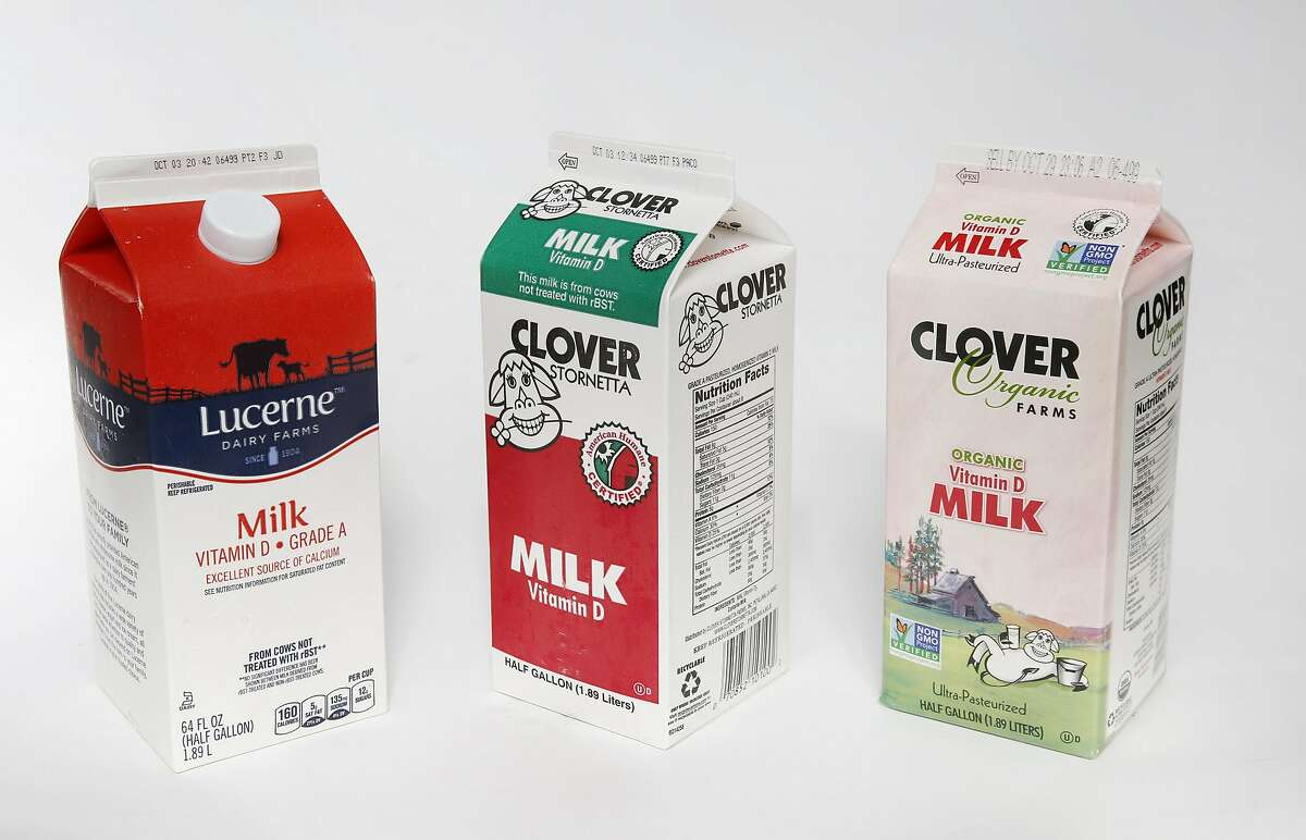 From left, Lucerne and Clover milk pictured Sept. 20, 2016 in San Francisco, Calif.