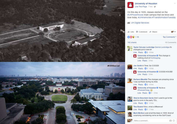 Since 1939, UH has opened it's doors to educate and inspire Houston students and to celebrate, the college shared a #TransformationTuesday post on Facebook.