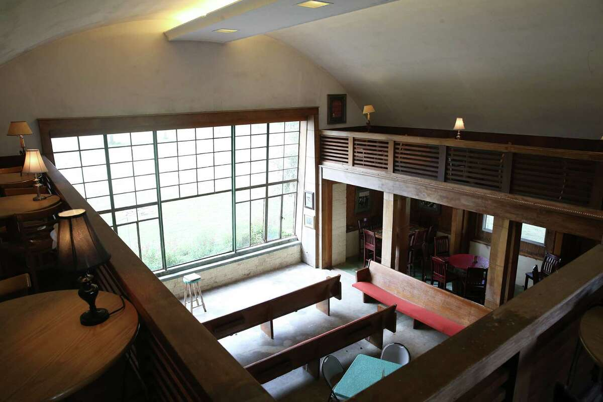 The restored interior of the pilots lounge at the Flying L Guest Ranch, which first opened in 1947 near Bandera. Local lore attributed the design to architect Frank Lloyd Wright, but that claim has been challenged - after it was cast onto a new Texas historical marker.