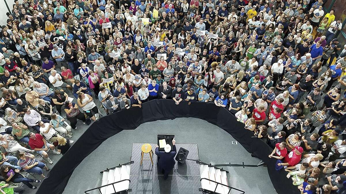 Vermont Sen. Bernie Sanders campaigns for Hillary Clinton at a rally at the Kent State University Recreation Center on Saturday, Sept. 17, 2016, in Kent, Ohio.