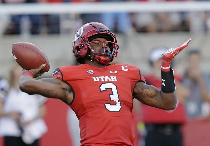 FILE - In this Sept. 10, 2016, file photo, Utah quarterback Troy Williams (3) passes down field against BYU in the first quarter during an NCAA college football game in Salt Lake City. The Utah offense has slowly progressed through three games, but now it faces its toughest test in USC. (AP Photo/Rick Bowmer, File)