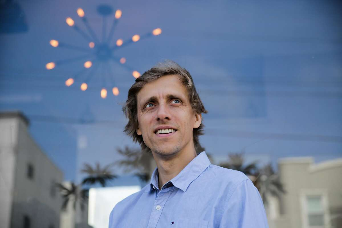 Starship technologies CEO Ahti Heinla stands for a portrait outside Orson's Belly cafe, in San Francisco, California, on Tuesday, Sept. 20, 2016.