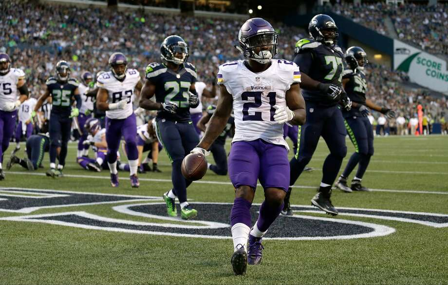 Minnesota's Jerick McKinnon could receive a lot more playing time if Adrian Peterson's knee injury is severe. McKinnon averaged 5.2 yards per carry in 52 attempts last season. Photo: John Froschauer, Associated Press