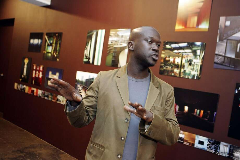 London-based architect David Adjaye talks about his Public Building exhibition at Artpace Thursday Sept. 11, 2008, in San Antonio, Texas. He is now working on plans for San Francisco's Shipyard project. Photo: KEVIN GEIL, SAN ANTONIO EXPRESS-NEWS