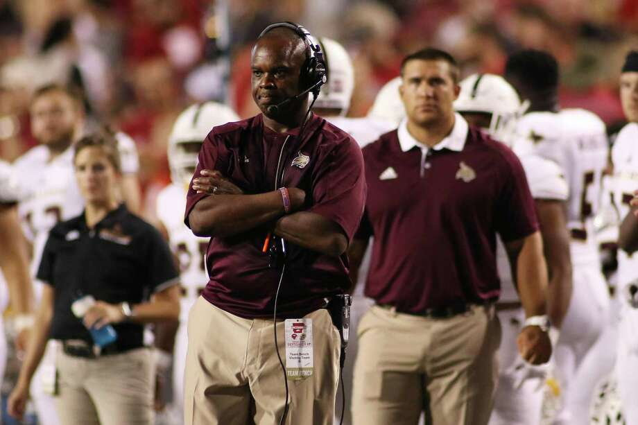 Texas State coach Everett Withers watches from the sideline during the third quarter against Arkansas on Sept. 17, 2016, in Fayetteville, Ark. Photo: Samantha Baker /Associated Press / FR171351 AP