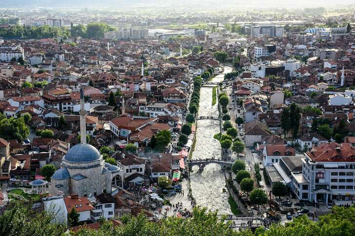 Prizren and the Bistrica River, from the castle overlooking the city.