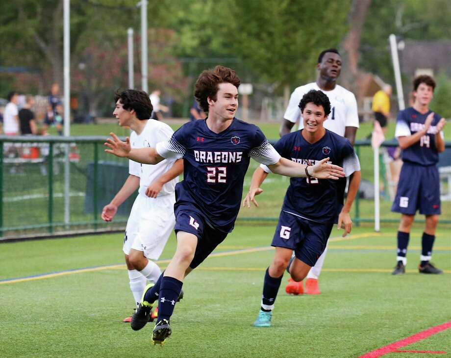 Greens Farms Academy sophomore Zach Liston celebrates after scoring in his team's 5-1 win over Cheshire Academy. Photo: Contributed Photo / Westport News Contributed