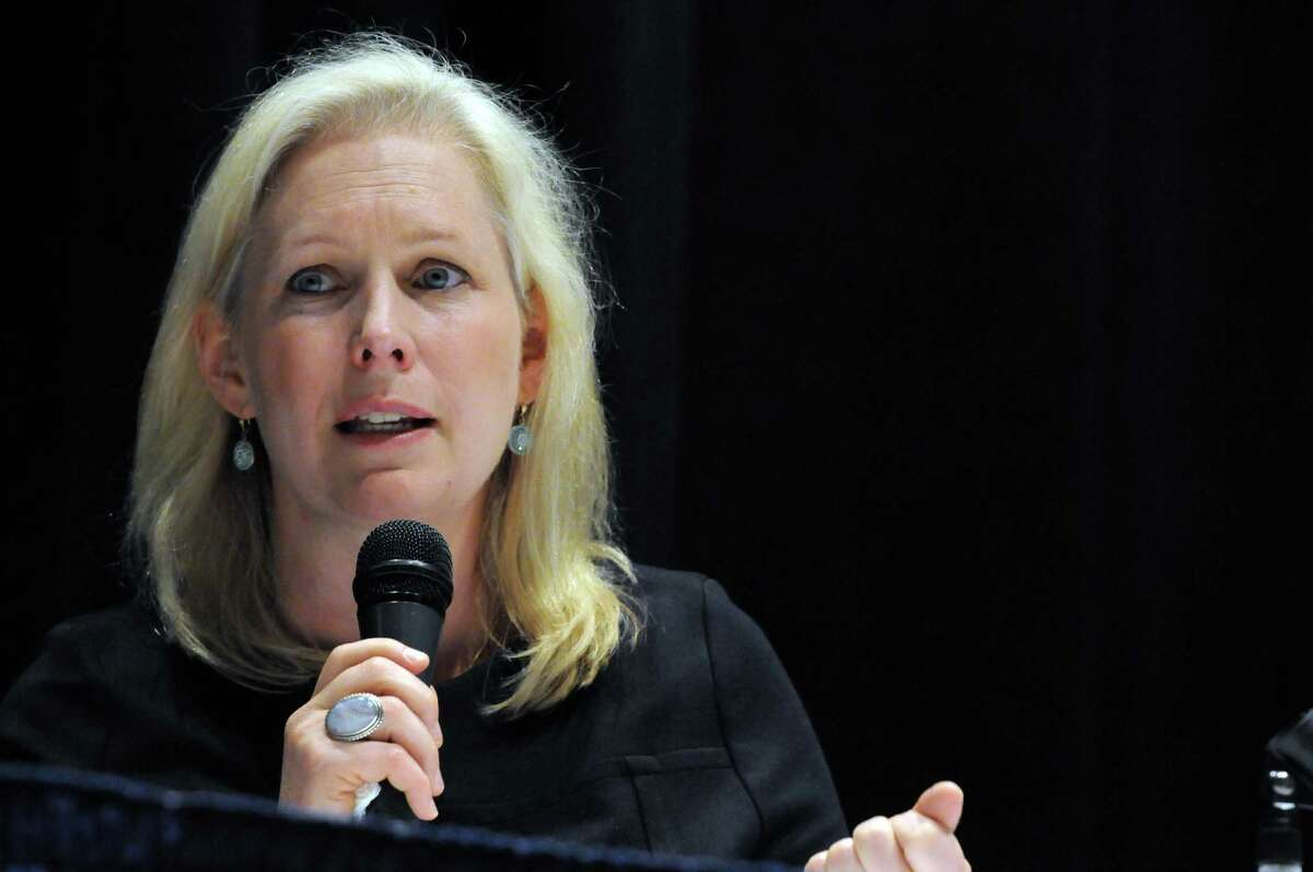 U.S. Senator Kirsten Gillibrand speaks during a roundtable discussion on PFOA contamination at Hoosick Falls Central School on Friday July 8, 2016, in Hoosick falls, N.Y. (Michael P. Farrell/Times Union)