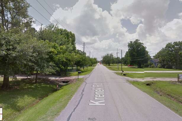 A screenshot of a Google Maps image of the 400 block of Krenek Road in Crosby, Texas. On Sept. 21, 2016, a vehicle struck a teenager as he was walking to Crosby High School. A LifeFlight medical helicopter took him to Memorial Hermann-Texas Medical Center.