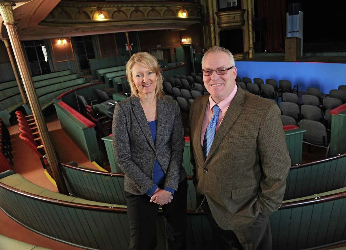 Palace Theatre manager Holly Brown and Cohoes Mayor Shawn Morse stand inside the Cohoes Music Hall on Tuesday, March 22, 2016 in Cohoes, N.Y. Palace Theatre is taking over management of Cohoes Music Hall. (Lori Van Buren / Times Union)