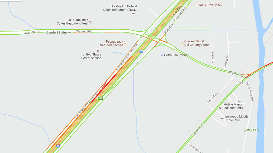 Interstate 10 westbound, west of Walden Road, is closed due to a wreck Wednesday morning, Beaumont Police Department said.