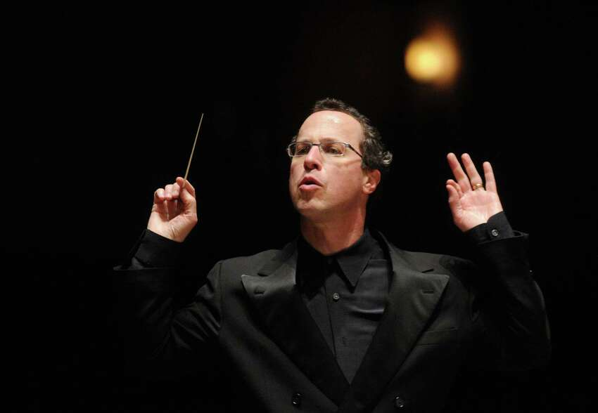 Albany Symphony Orchestra Conductor David Alan Miller during rehearsal at the Palace Theater in Albany on Friday, April 17, 2009. (Patrick Dodson / Times Union)
