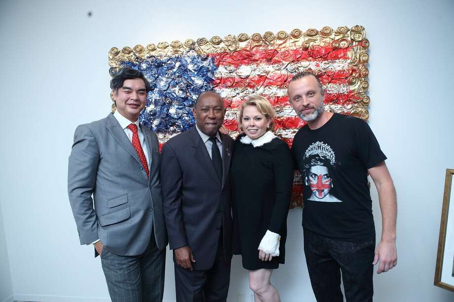 Sujiro Seam, Mayor Sylvester Turner, Tammy Greene Dowe, and Sebastien Boileau Photo: Quy Tran