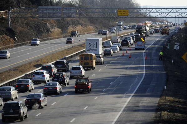 Traffic is snarled on alternate Route 7 in Latham, N.Y. due to two accidents this morning during rush hour Feb. 3, 2012.  ( Skip Dickstein/Times Union)